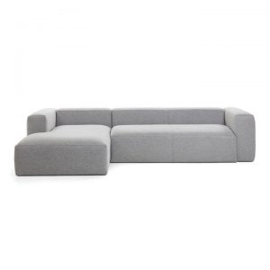 Lorton Fabric Corner Sofa, 2 Seater with LHF Chaise, Light Grey
