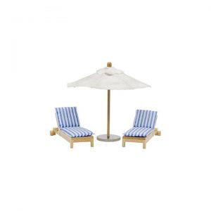 Lundby Stockholm Dollhouse Sun Beds and Parasol