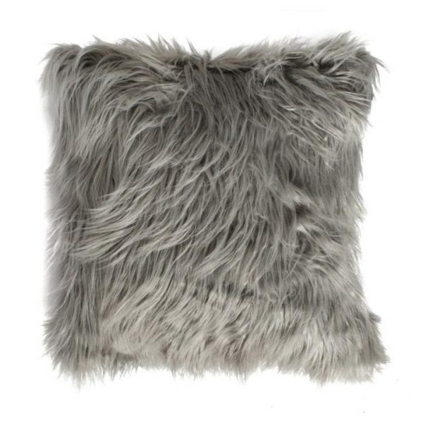 Marcus Feather Filled Faux Fur Scatter Cushion, Silver