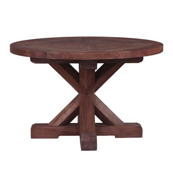 Marseille Mahogany Timber Round Dining Table, 122cm, Natural