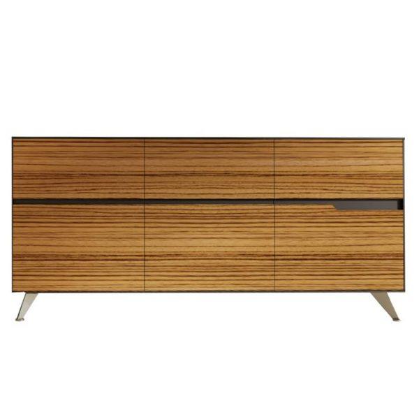 Milando 6 Drawer Sideboard, 185cm, Zebra Oak / Black