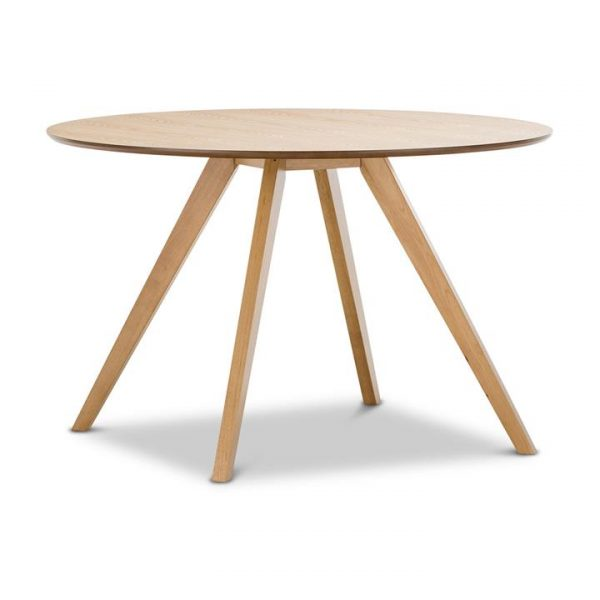 Milari Wooden Round Dining Table, 120cm, Light Oak