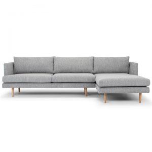 Mina Fabric Corner Sofa, 2 Seater with RHF Chaise, Grey