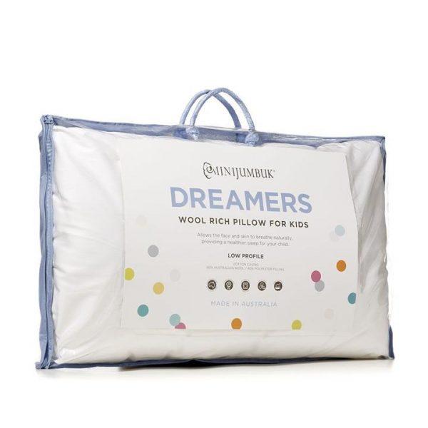 MiniJumbuk Dreamers Kids Low Profile Pillow - White By Adairs