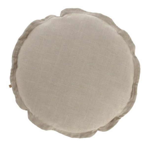 Moana Fabric Round Cushion, Beige