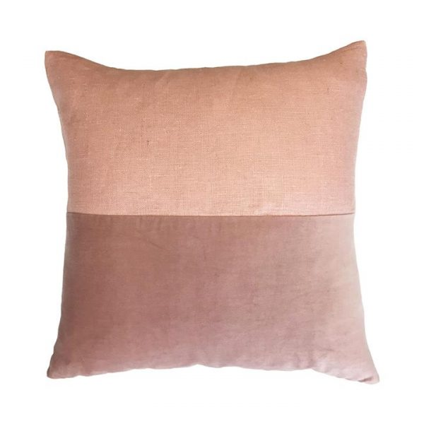 Osten Block Linen Scatter Cushion, Dusty Pink