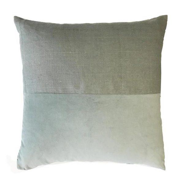 Osten Block Linen Scatter Cushion, Moss Green