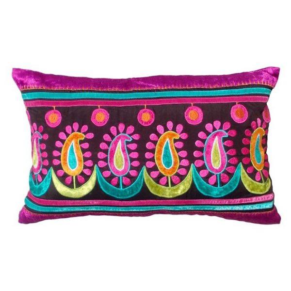 Pachai Embroidered Espress Poly Taffeta Handmade Cushion Cover - 30x50cm
