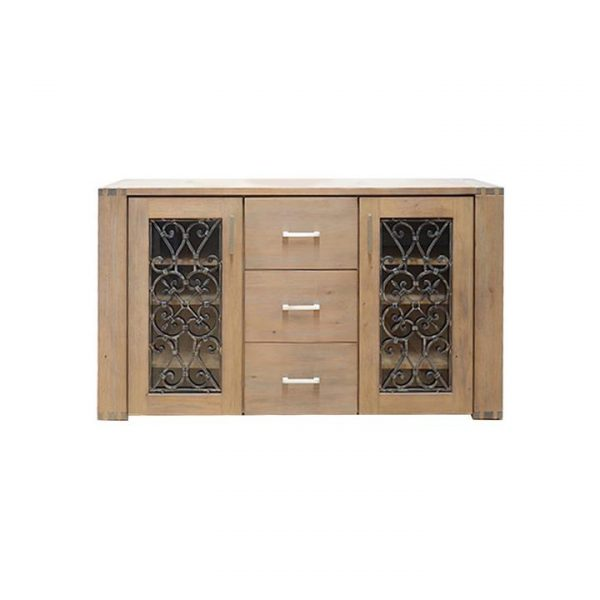 Pesaro Mountain Ash Timber 2 Door 3 Drawer Buffet Table, 166cm