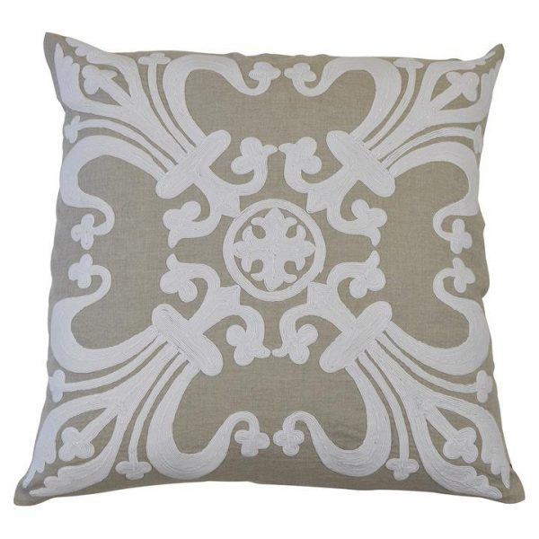 Provence Embroider Cotton Linen Scatter Cushion Cover, Natural