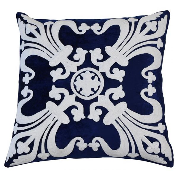 Provence Embroider Velvet Scatter Cushion Cover, Navy