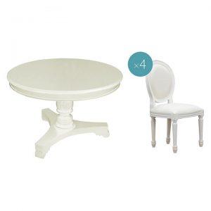 Queen Ann Round Timber Dining Set