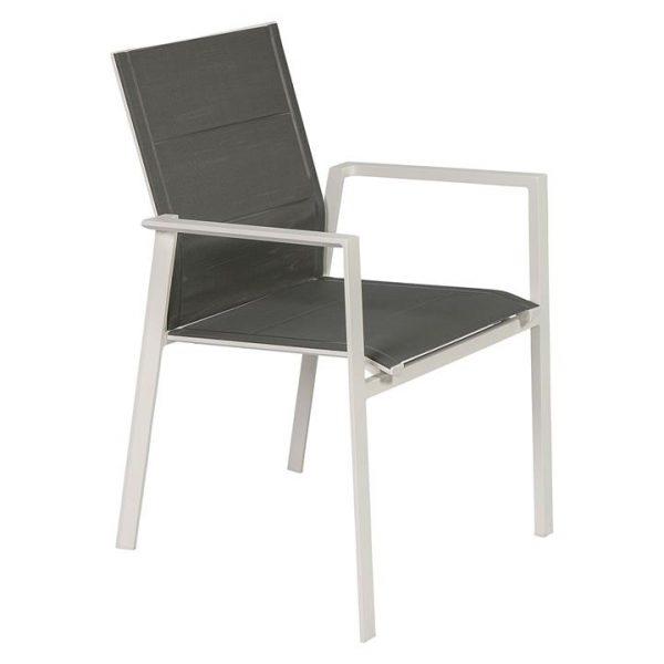 Ramirez Outdoor Dining Chair, White/Dark Grey