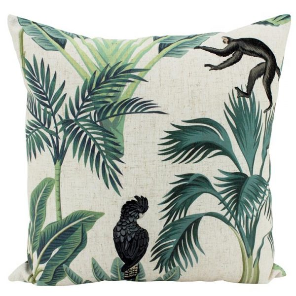 Remo Jungle Friends Doubled Sided Linen Scatter Cushion