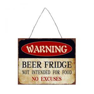 Retro Tin Wall Plaque, Beer Fridge