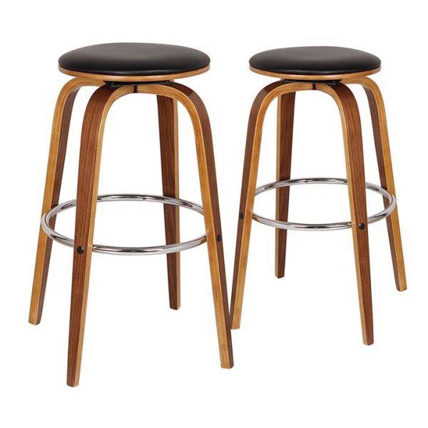 Rho Commercial Grade Bentwood Swivel Bar Stool, Faux Leather Seat, Black / Light Walnut