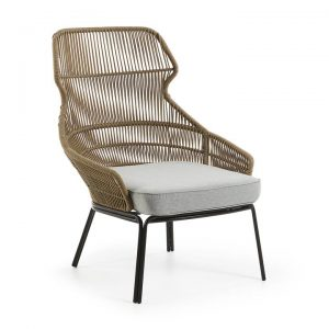 Ronni Rope & Steel Indoor / Outdoor Lounge Chair, Khaki