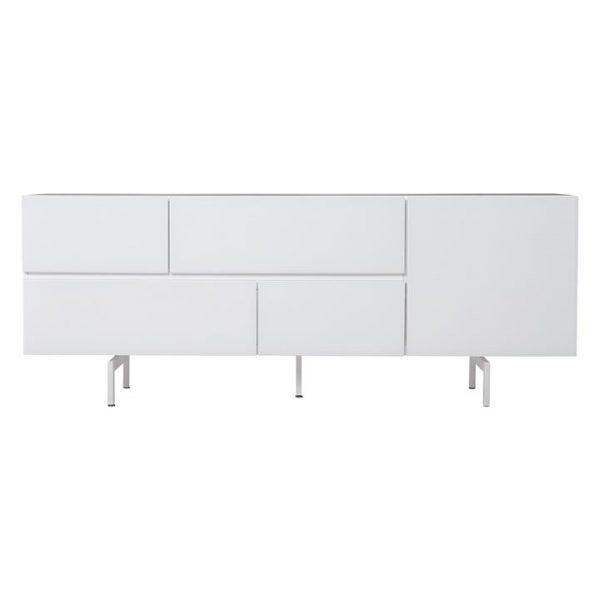 Rosa High Gloss 1 Door 4 Drawer Sideboard, 190cm, White