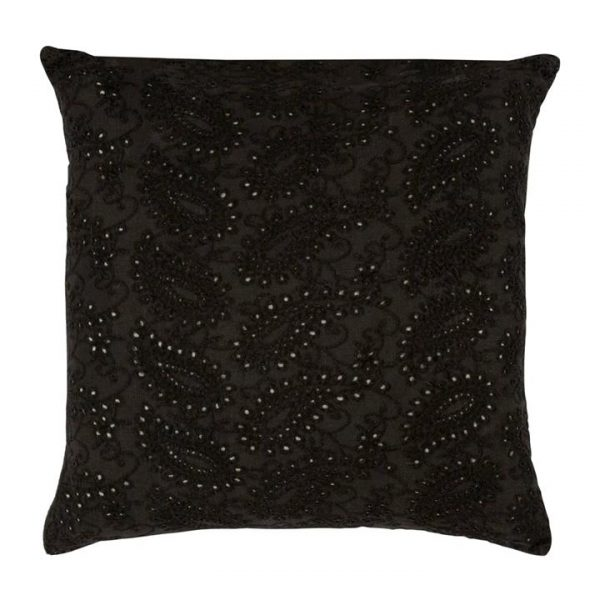 Rousset Embroidered Lace Velvet Scatter Cushion, Charcoal