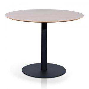 Rozzano Round Office Meeting Table, 100cm, Natural / Black