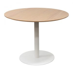 Rozzano Round Office Meeting Table, 100cm, Natural / White