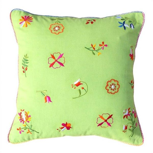 Saavi Embroidery Cotton Cushion - Green