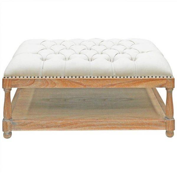 Sanvensa Hand Crafted Upholstered Mindi Wood Timber Ottoman, Oatmeal / Weathered Oak