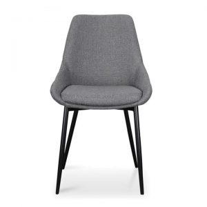 Set of 2 Arborio Fabric Dining Chairs, Dark Grey