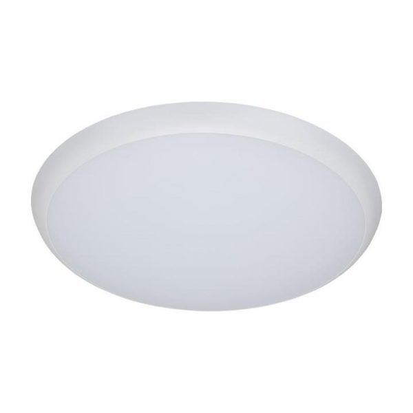 Solar IP54 Indoor / Outdoor Slimline LED Oyster Light, 3000K, Round, 40cm, White