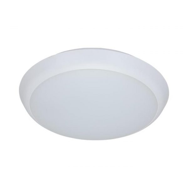 Solar IP54 Indoor / Outdoor Slimline LED Oyster Light, 5000K, Round, 20cm, White