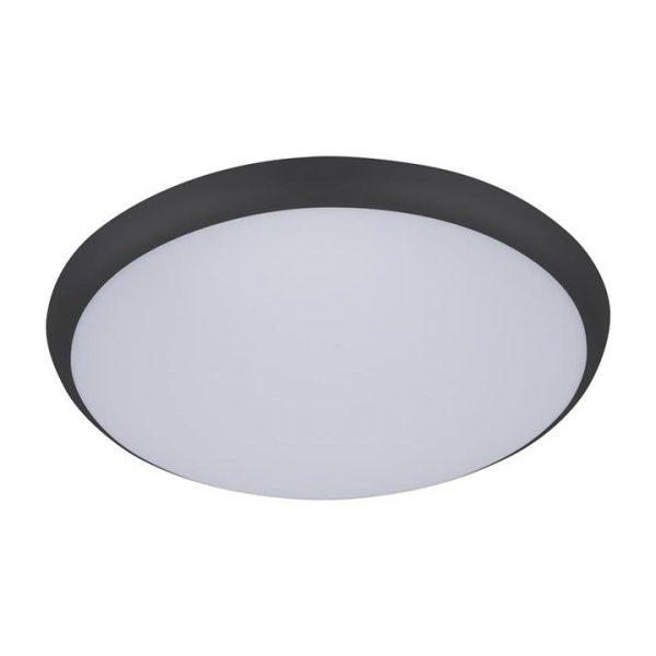 Solar IP54 Indoor / Outdoor Slimline LED Oyster Light, Tricolour, Round, 40cm, Black