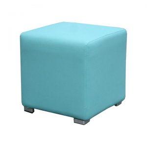 Splash Pod Fabric Outdoor Ottoman, Aqua Solid