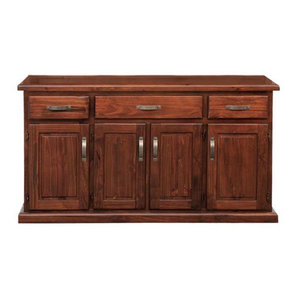 Spring New Zealand Pine Timber 4 Door 3 Drawer Buffet Table, 160cm
