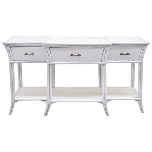 Stamford Bamboo Rattan Console Table, 150cm, White