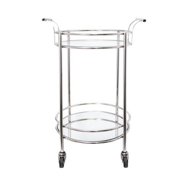 Steller Glass & Metal Drinks Trolley, Silver