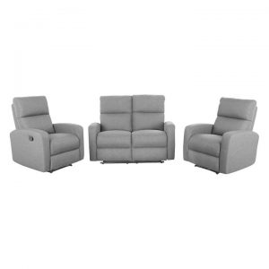 Tacoma 2+1+1 Seater Linen Fabric Recliner Sofa Suite, Grey