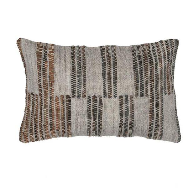 Tate Fabric & Leather Lumbar Cushion