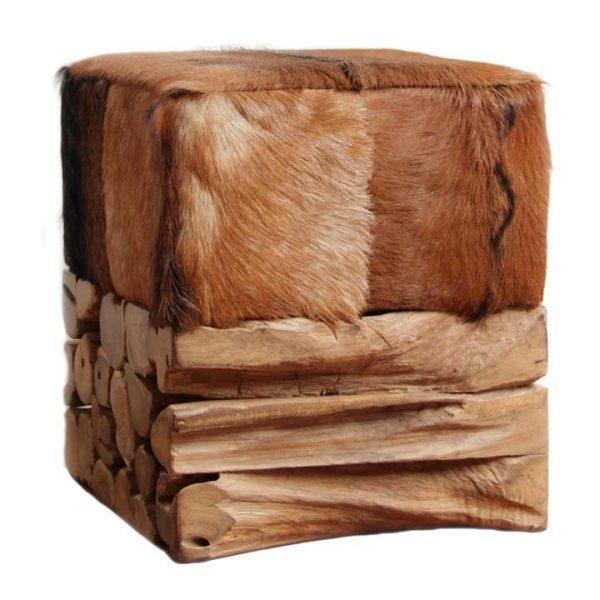 Tropica Shaggy Baron Commercial Grade Goat Hide & Teak Timber Ottoman Stool