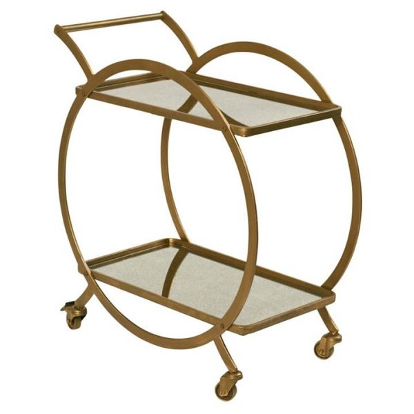 Walter Metal Drinks Trolley, Antique Gold
