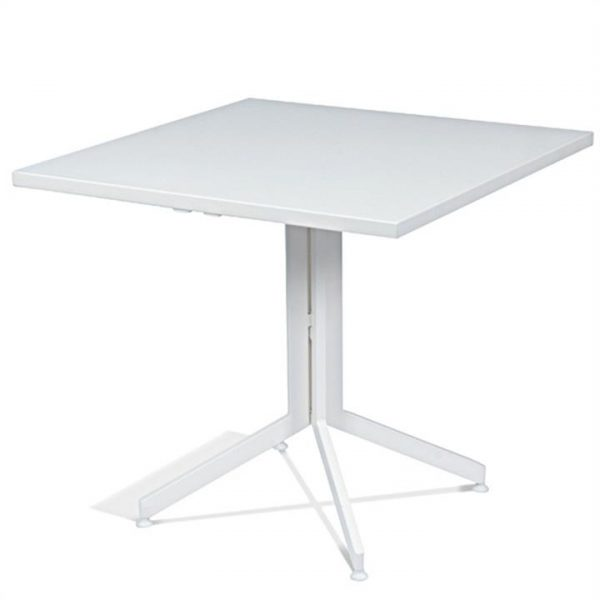Wanika Commercial Grade Foldable Indoor/Outdoor Square Dining Table, 70cm, White