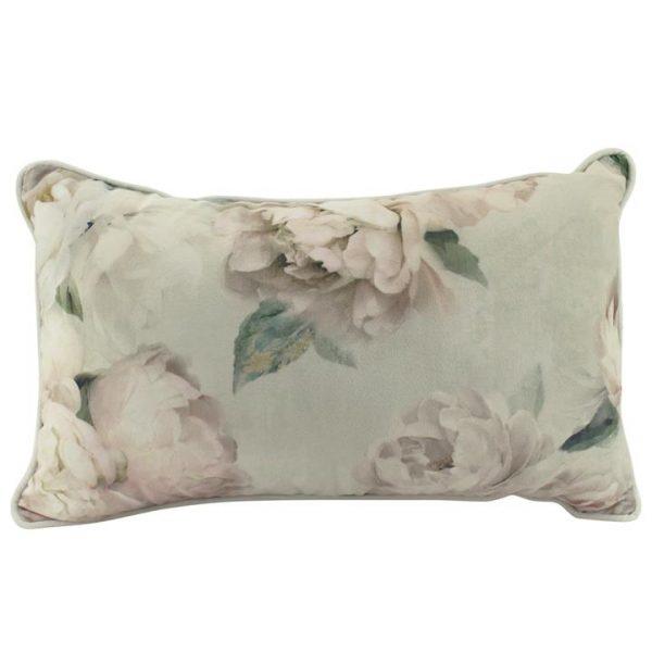 White Peony Velvet Lumbar Cushion