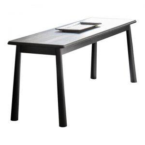 Willem Oak Timber Dining Bench, 130cm, Black