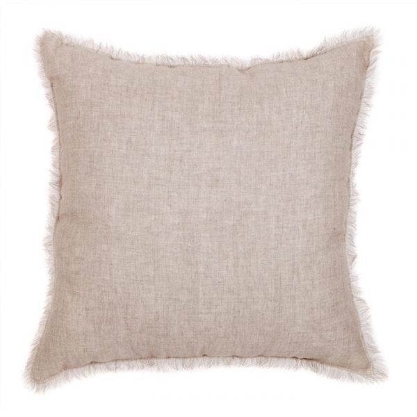 Winona Fringed Linen Scatter Cushion - Beige
