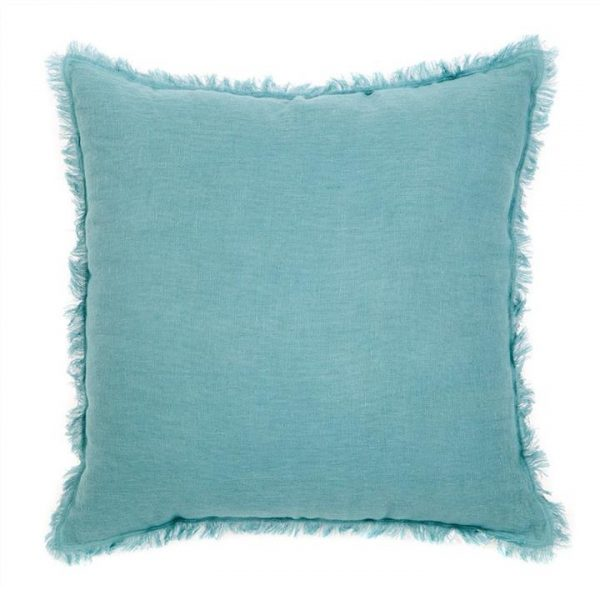 Winona Fringed Linen Scatter Cushion - Blue
