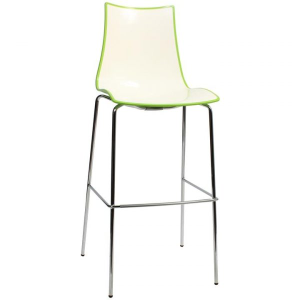 Zebra Bicolore Italian Made Commercial Grade Bar Stool, Metal Leg, Green / Chrome