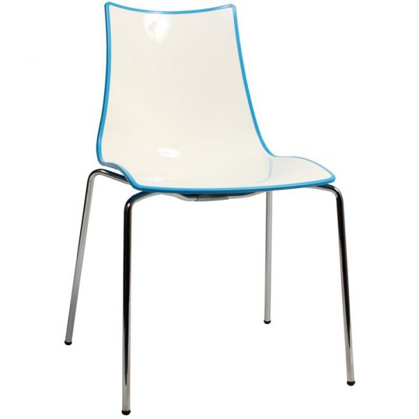 Zebra Bicolore Italian Made Commercial Grade Dining Chair, Metal Leg, Blue / Chrome