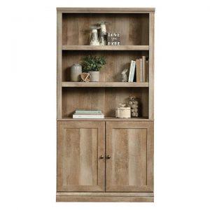 5-Shelf Bookcase with Doors Lintel Oak
