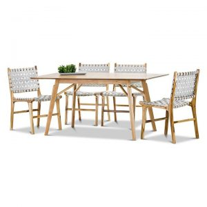 Alyssa 5-Piece Lazie Woven Leather & Teak Dining Set