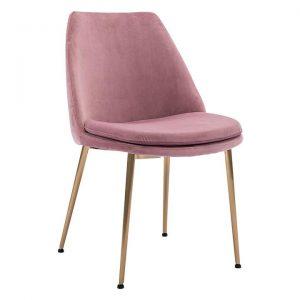 Ashton Velvet Dining Chair, Blush/Gold