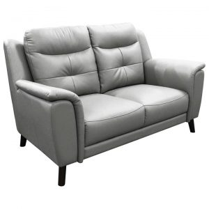 Hexam Leather Sofa, 2 Seater, Silver